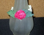 Last Rose of Summer SALE, Crocheted Floral Bracelet, 7 Inches