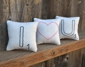 Scrabble Letter I Heart U Decorative Pillows - Valentines Day Bowl Fillers - White Burlap Tucks - Rustic Wedding Decor - Black Red Pink Love