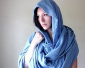 Cornflower Blue Shawl - Cotton Gauze Scarf - Extra Long Bohemian Wrap - Oversized Scarf