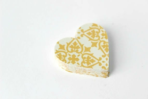 Yellow Victorian Heart Die Cuts - Sunny Spring