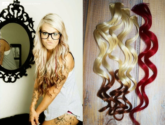 Valentine Sale Reverse Ombre Hair Extensions Two Freebie Red
