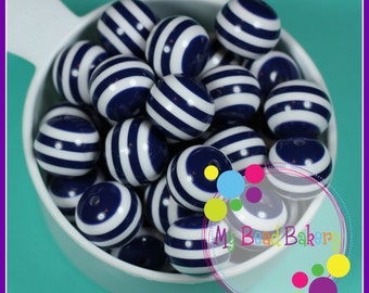 6 Pieces 20mm Navy Blue Striped Resin Gumball Style Beads DIY Crafts For Chunky Necklaces And Bracelets