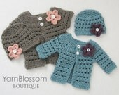 CROCHET PATTERN Baby Girl Mini Miss Cardigan & Beanie (4 sizes included from preemie to 6 months) Instant Download