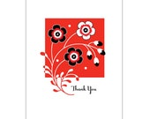"""One """"Thank You"""" 4-Bar Floral Notecard"""
