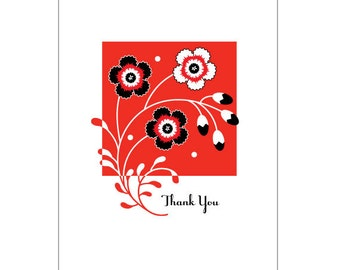 "One ""Thank You"" 4-Bar Floral Notecard"