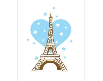 "One ""Eiffel Tower"" 4-Bar Blank Notecard"
