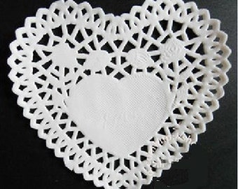 Set of 25  Heart Paper Lace Doilies