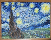 "Starry Night Vincent van Gogh hand painted reproduction 18"" x 24"" real oil paint on canvas textured impasto painting Significant Art"