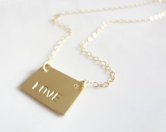 Love Necklace, Monogram, Pendant, Charm, Gold Filled Chain Necklace Weddings, Bridal, Bridesmaids, Handmade Jewelry