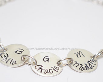 Hand stamped custom charms personalized sterling silver bracelet