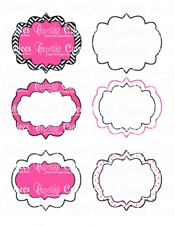 Hot Pink and Black Fancy Digital BLANK by CupcakeCutieesParty