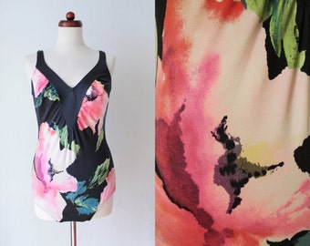 Vintage Swimsuit - Black Floral Swimsuit - 1980's Bathing Suit - Size L