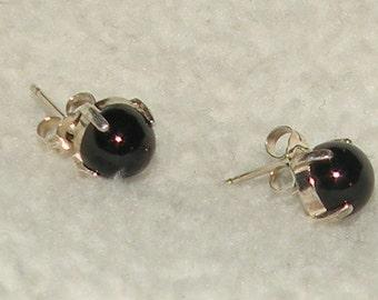 Black Spinel Cabochon Earrings