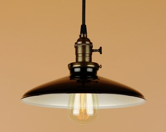 Lighting w/ 10 inch Black Porcelain Enamel Shade - Pendant Light w/ Antique Reproduction Cloth Wire - Oil Rubbed Bronze or Satin Nickel