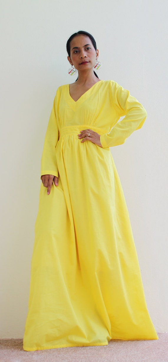 Maxi Dress Yellow Long Sleeve dress : Feel Good Collection