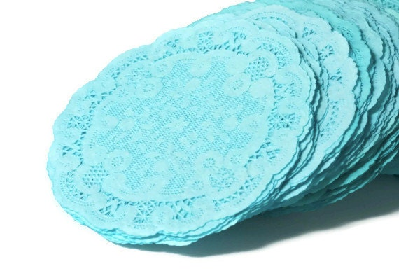 Paper doilies . 4 inch soft teal colored French lace doilies.