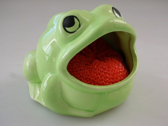 Frog sponge holder kitchen sink kitschy by thebackofthebasement - Frog sponge holder kitchen sink ...