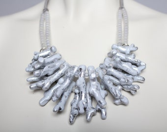 Silver Coral Necklace / Statement Coral Necklace