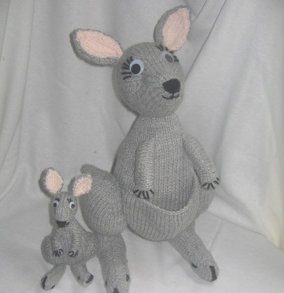 Toy Kangaroo & Joey: KNITTING PATTERN pdf file by automatic