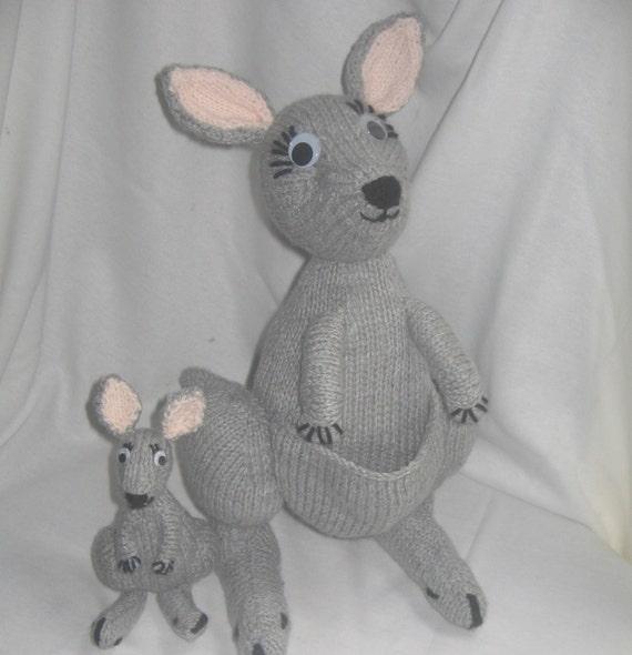 Kangaroo Pouch Knitting Pattern : Toy Kangaroo & Joey: KNITTING PATTERN pdf file by automatic