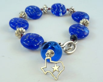 Lampwork Bead Jewelry Bracelet  - ' Blue Sky of Texas'
