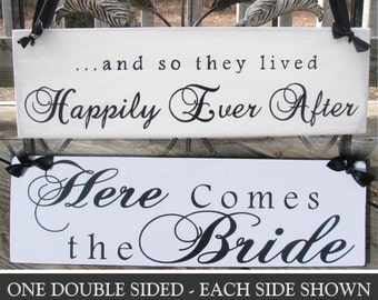 Here Comes the Bride -  And So They Lived Happily Ever After Sign,  Double Sided Wedding Sign 18in