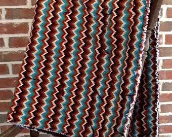 "Mexican blanket quilt, ""Adobe Chevron"""