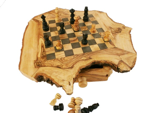 Rustic Chess Set, Engraved Olive Wood custom natural edge personalized chess board, Dad gift, Birthday gift
