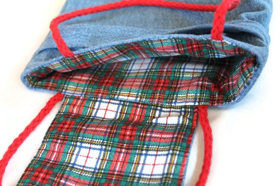 Plaid Christmas Gift Bags Reusable Denim Vintage 1980s Fabric Red White Green Holiday Winter (Set of 2) --US Shipping Included