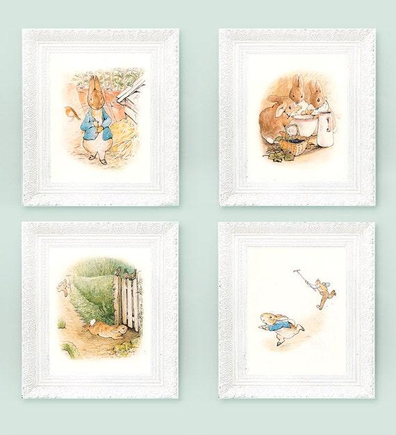 4 Vintage Peter Rabbit Prints Beatrix Potter Prints