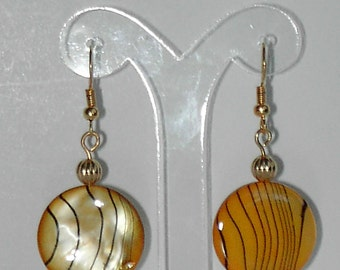 Yellow mother of pearl shell earrings  (#378)