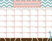 Customize Baby Calendar for Baby Shower Pool Game Giraffe Theme (Digital File)