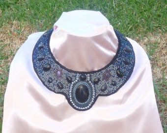 Universe-a bead embroidered collar necklace