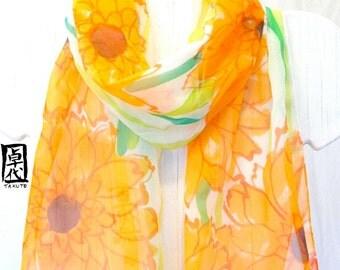 Silk Scarf Handpainted, Gift for her, Silk Scarf Floral, Spring Tangerine Orange Garbera Daisies Scarf, Chiffon Scarf, Made to order