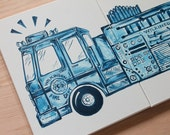 red or blue big rig fire truck art . 20x32 . fire engine side view. personalized . custom original