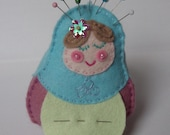 Handstitched Felt Russian Doll Pin Cushion & Needle Case - Light Blue and Rose
