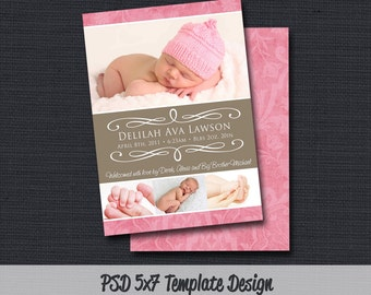 INSTANT DOWLOAD - Birth Announcement Template (Girl BA 25) Photographer Template