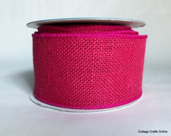"Wired Ribbon,  2 1/2"" , Fuchsia Pink Burlap - ONE & 3/4 YARDS - Offray, #60412 Natural Jute, Spring Rustic Craft, Prim Wire Edge Ribbon"
