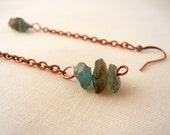 Raw kyanite dangle earrings - rough stones on copper chain, long dangle earrings. blue green kyanite. copper earrings.
