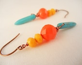 Southwest colored beaded earrings - Czech glass beads and turquoise spikes on copper wire - colorful earrings - spring earrings.