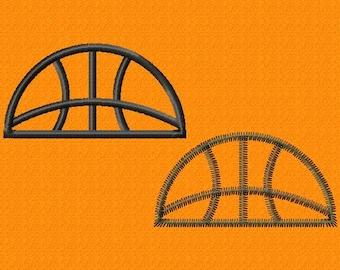 Basketball - Half - Applique - Machine Embroidery Design - 8 Sizes - 2 Styles