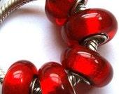 Red Foil Murano Glass Bead Fits European Style Bracelets