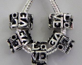 LOVE Tibetan Silver Spacer Beads Fit  European Charm Bracelet