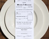 25 Wedding Favor Mad Libs Feedback Cards Fill in the Blank Wedding Accessories Notes For the Bride and Groom