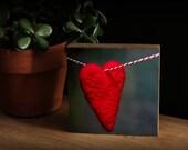 Bamboo Block, wall art, heart, valentine, print, garland, living room, girl, love, photography, original, red, boy, girl, gift, plant, wood