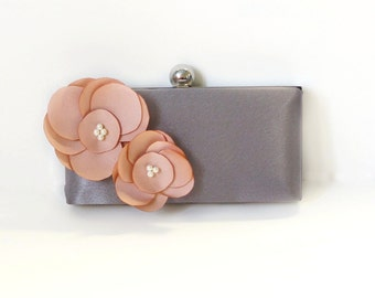 Romantic Clutch Purse with Handmade Flower Adornment and Pearls- Gray and Blush