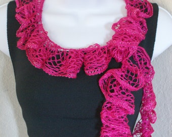 Ruffle scarf handmade crochet lace and soft PINK silver shiny scarf for spring and summer