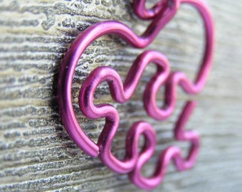 Puzzle Heart Necklace - Large Rose Pink
