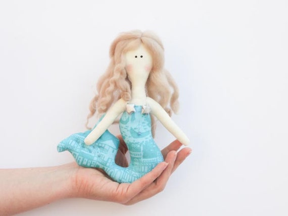 Sweet Mermaid doll handmade fabric doll  softie plush  turquoise cloth doll art doll lovely rag doll blonde Mermaid- gift for girl and mom