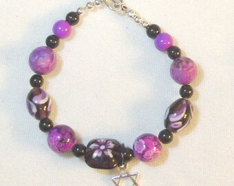 Purple and Magenta Lampwork Beaded Bracelet
